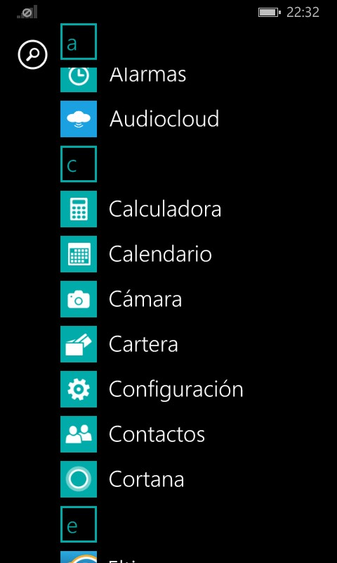 Pantalla de configuración de Windows Phone
